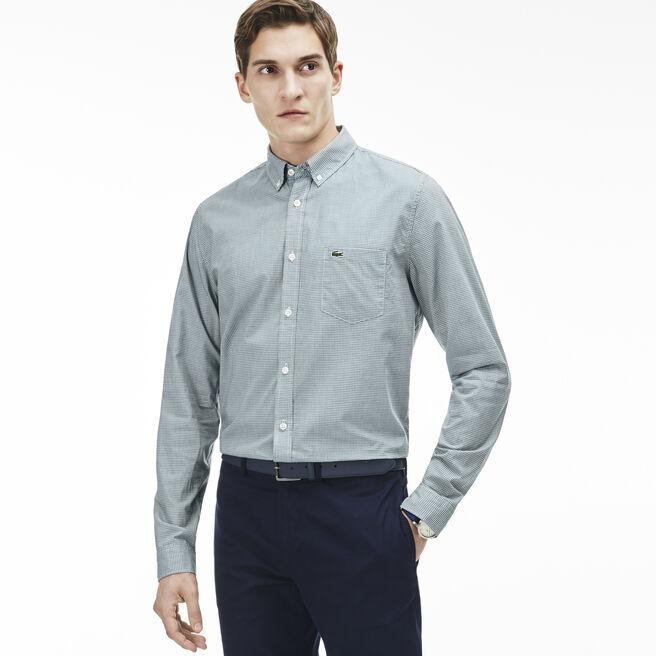 Men's Regular Fit Finely Checked Poplin Shirt