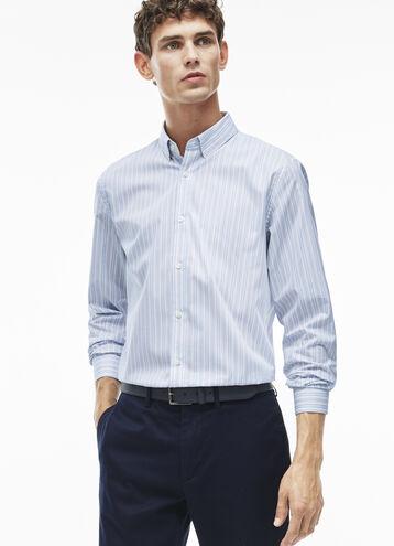 Men's Slim Fit Bicolor Striped Poplin Shirt