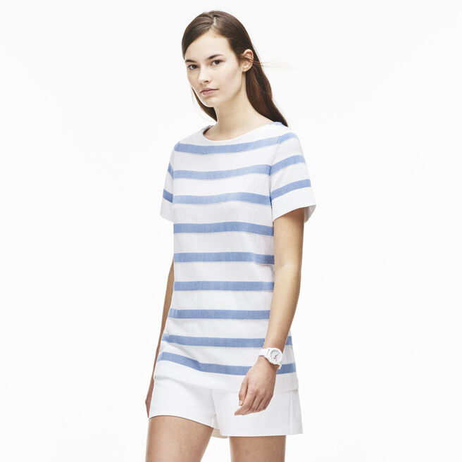 Women's Boat Collar Striped Jacquard Jersey T-Shirt