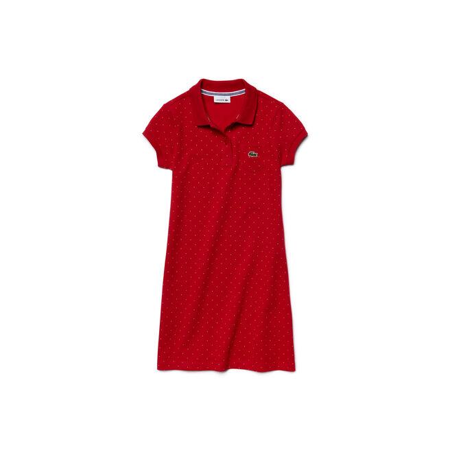 Kids' Polka Dot Fine Piqué Polo Dress