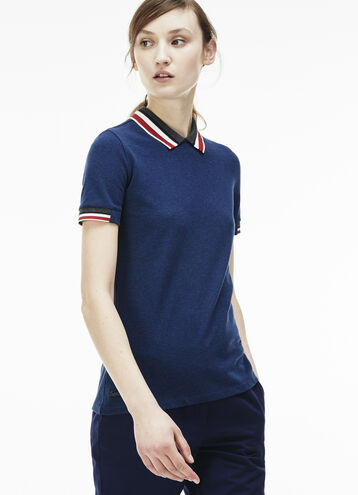 Women's Contrast Stripe Rib Collar Polo Shirt