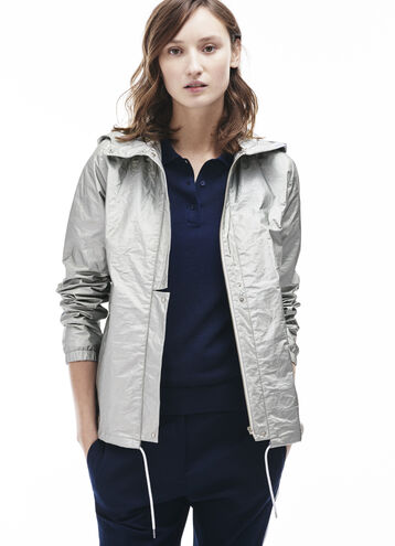 Women's Hooded Silver Technical Fabric Jacket
