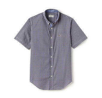 Men's Slim Fit Mini Check Cotton Poplin Shirt