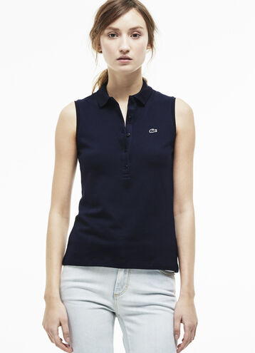 Women's Slim Fit Stretch Petit Piqué Polo Shirt