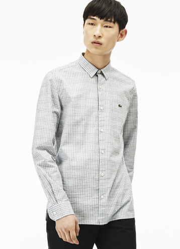 Men's Lacoste L!VE Slim Fit Checked Poplin Shirt