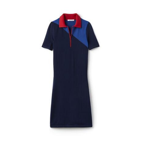 Women's Colorblock Jersey Zip Neck Tailored Polo Dress