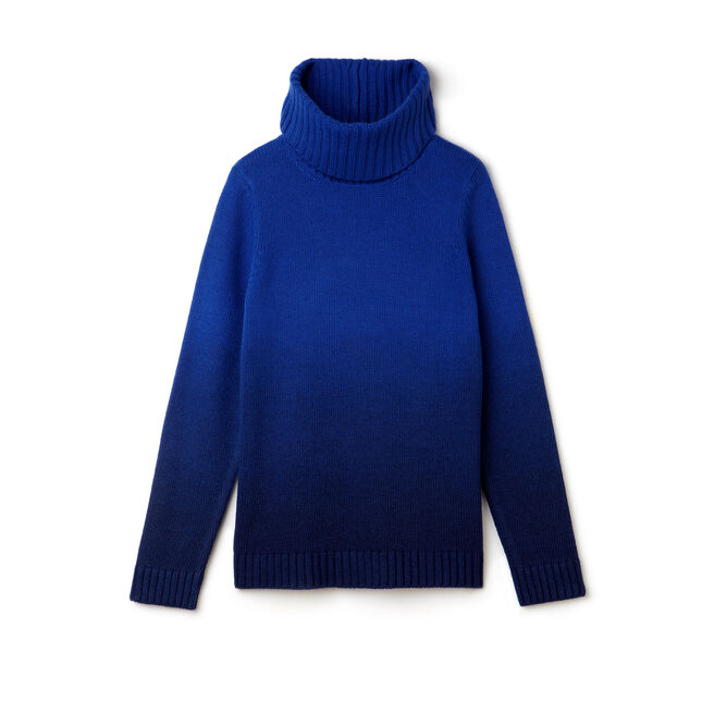 Women's Wool Jersey Dip Dyed Turtleneck Sweater