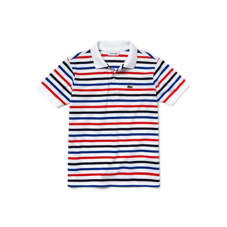 Kids' Flecked And Striped Cotton Piqué Polo Shirt