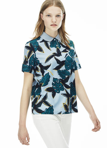 Women's L!VE Tropical Print Voile Polo Shirt