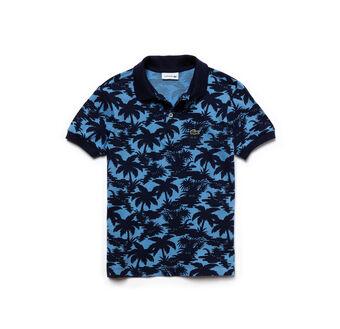 Boy's Classic Fit Wave Print Petit Piqué Polo Shirt