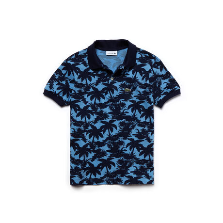 Boy's Classic Fit Wave Print Petit Piqué Polo Shirt