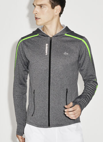 Men's SPORT Hooded Zippered Contrast Band Tennis Jacket