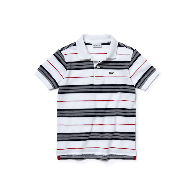 Kids' Contrast Stripes Cotton Piqué Polo Shirt