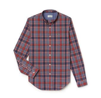 Men's Slim Fit Colorful Checked Cotton Poplin Shirt