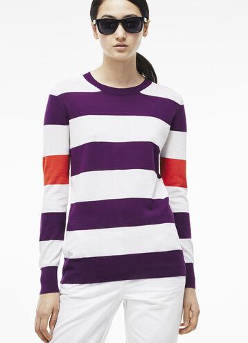 Women's Bold StripedCrew Neck Sweater