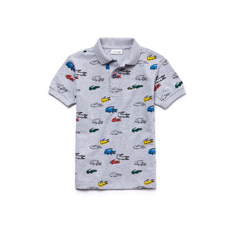 Kids' Classic Fit Crocodile Print Cotton Petit Piqué Polo Shirt