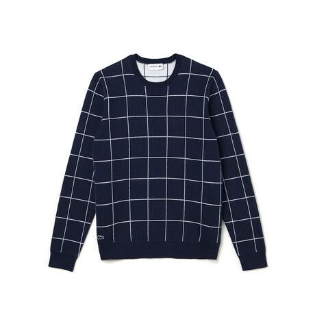 Men's Crew Neck Net Print Cotton Jacquard Sweater