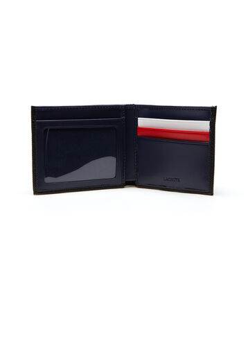Men's Edward Coated Leather Wallet With Tricolor Accents