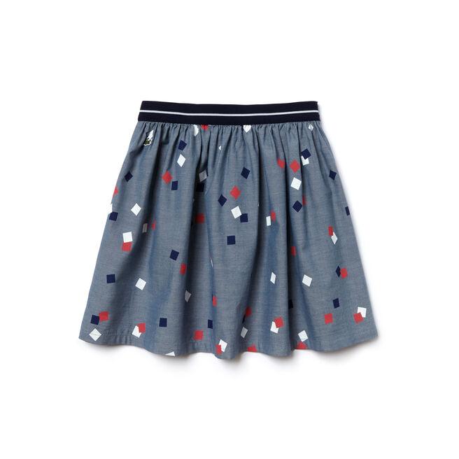 Girl's Print Poplin Flared Skirt