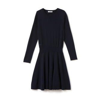 Women's Wool Jersey Fit and Flare Sweater Dress