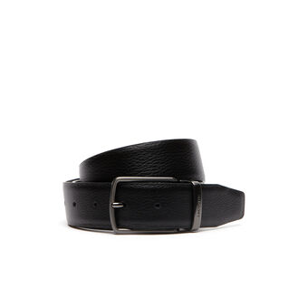 Men's Grained Leather Belt With Lacoste Engraved Tongue Buckle