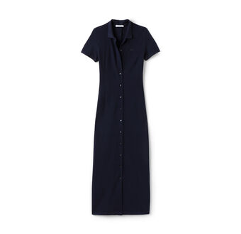 Women's Buttoned Heavy Piqué Long Polo Dress