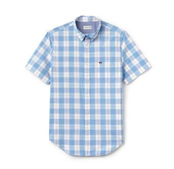 Men's Regular Fit Checked Cotton Poplin Shirt