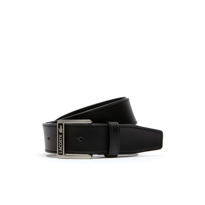 MEN'S SMOOTH LEATHER BELT WITH LACOSTE STUD BUCKLE