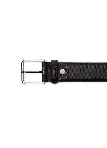 Men's Fine Piqué Print Leather Belt With Tongue Buckle