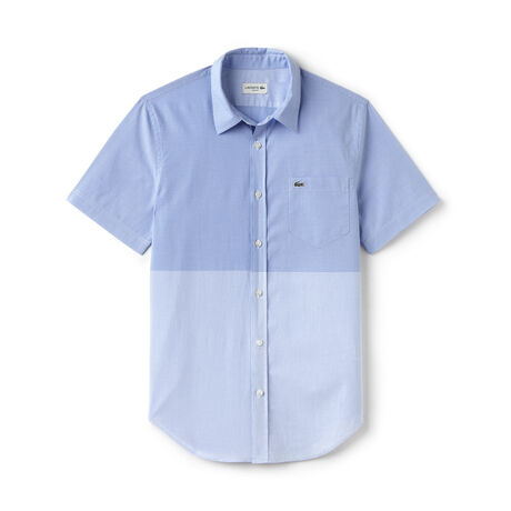 Men's Slim Fit Striped Gingham Poplin Shirt