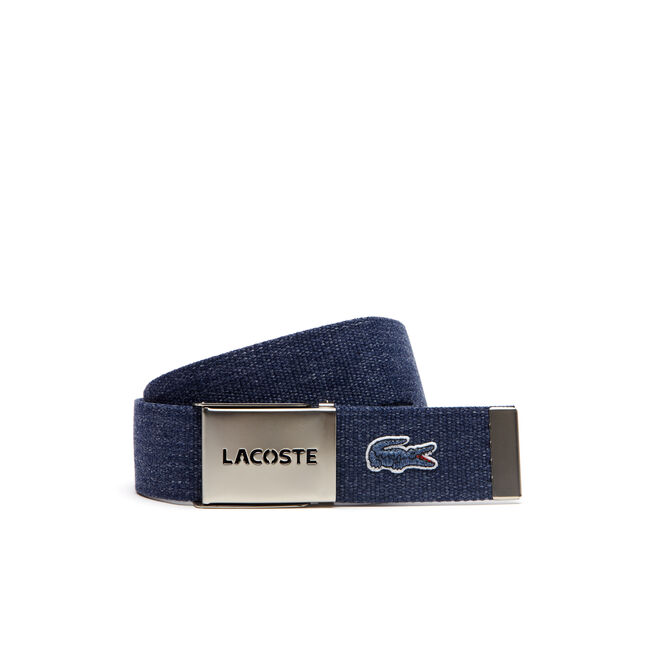 Men's Belt in Flecked Canvas With Perforated Lacoste Plate