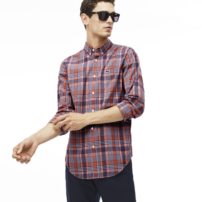 Men's Slim Fit Colorful Checked Cotton Poplin Shirt