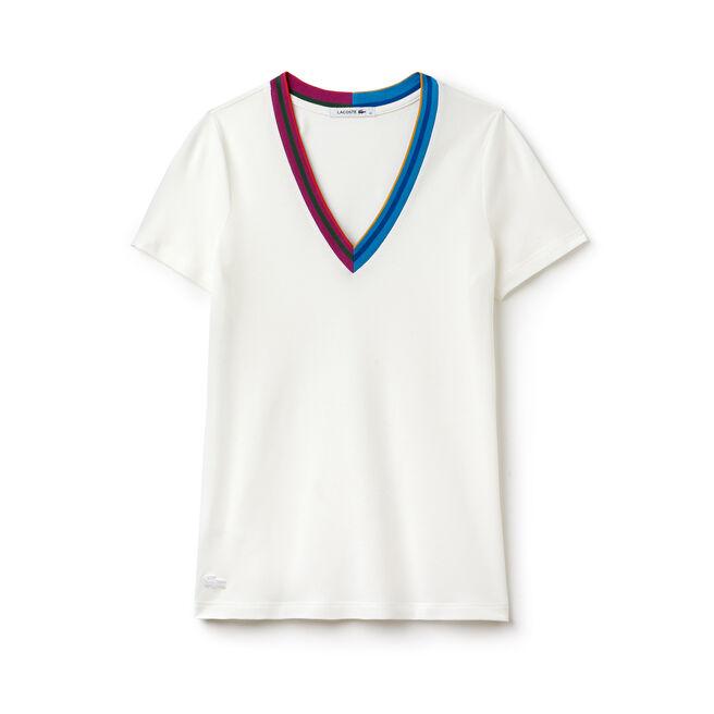Women's Premium Piqué Striped Accents V-Neck T-Shirt