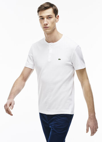 Men's Double Face Cotton Henley T-Shirt