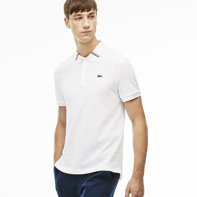 Men's L!VE Slim Fit Tricolor Band Collar Polo Shirt