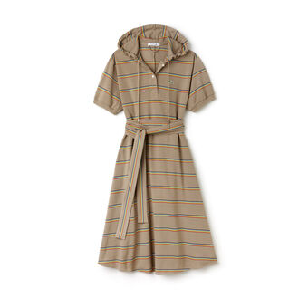 Women's Fashion Show Hooded Mid-Length Striped Piqué Polo Dress