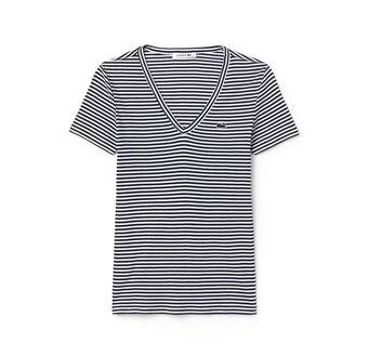 Women's Soft Striped Jersey V-Neck T-Shirt