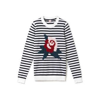 Women's L!VE Striped Flower Print Crew Neck Sweater