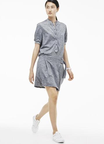 Women's Slub Linen Piqué Henley Dress