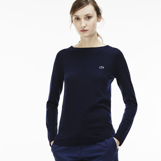 Women's Boat neck Wool Jersey Sweater