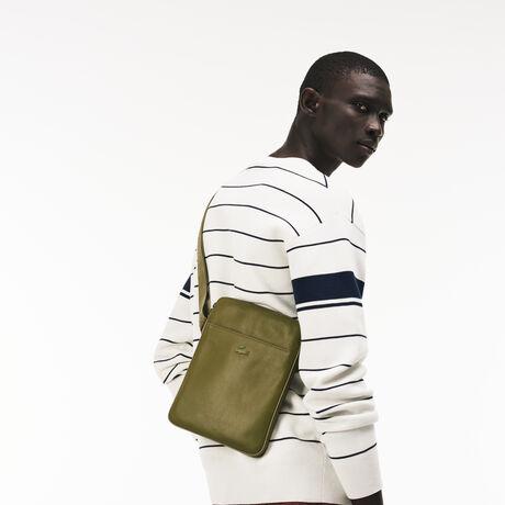 라코스테 메신저백 Lacoste Mens Full Ace Leather Flat Bag,olive branch