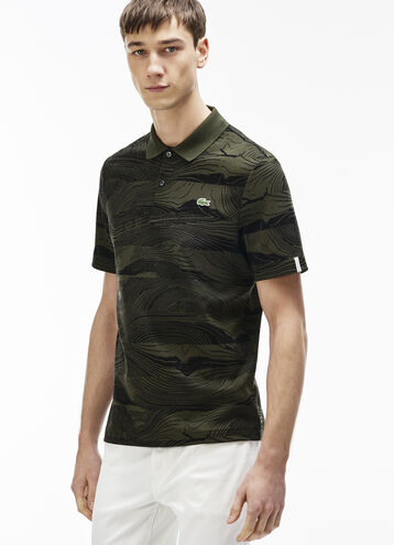 Men's L!VE Regular Fit Wood Print Polo Shirt