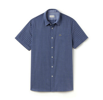 Men's Indigo Jacquard Check Woven Shirt