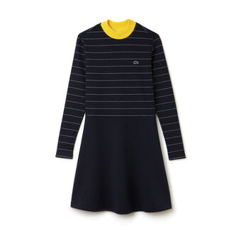 Women's L!VE Contrast Mock Neck Striped Fit and Flare Dress