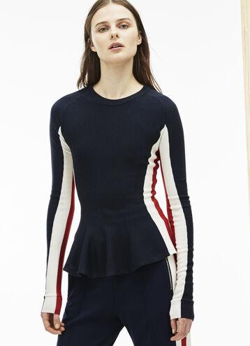 Women's Fashion Show Crew Neck Peplum Wool Sweater