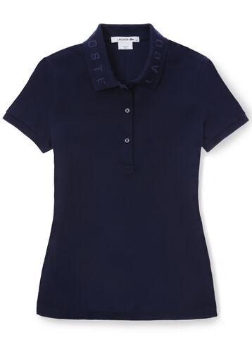 Women's Slim Fit Jacquard Collar Polo Shirt