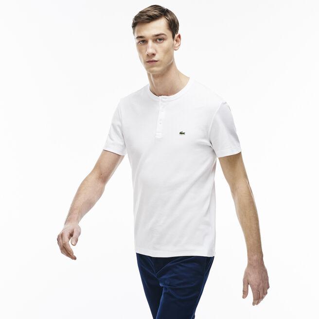 Men's Double Face Cotton Henley T-Shirt