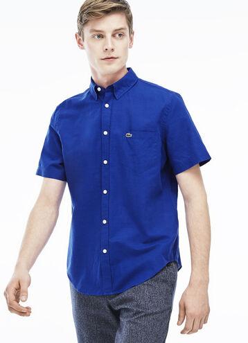 Men's Cotton Linen Short Sleeve Woven Shirt