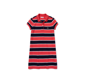 Kids' polo dress in three-tone two-ply fine piqué