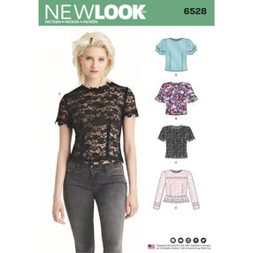 New Look Pattern 6528 Misses' Tops with Sleeve and Trim Variations